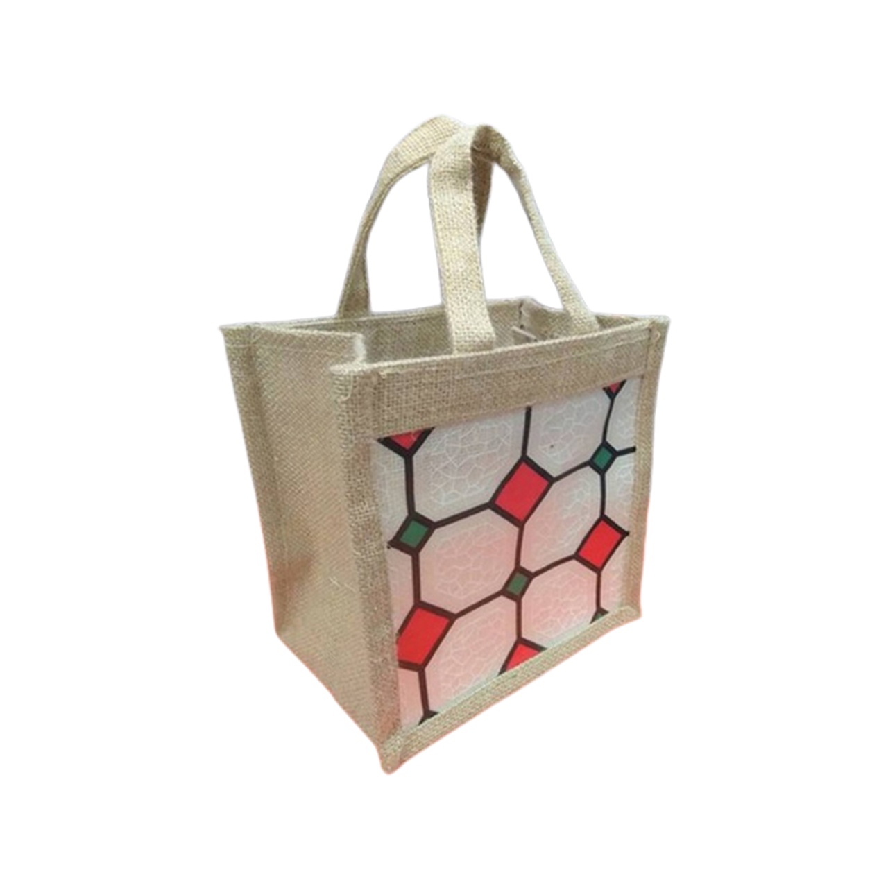 Jute bag for lunch carrying With Sticker laminated