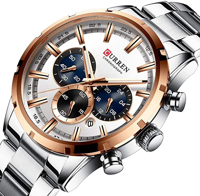 CURREN 8355 Silver Stainless Steel Chronograph Watch For Men - RoseGold & Silver