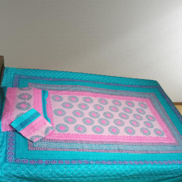 Blue/Pink Block printed Bedsheet with 2pc Pillow Covers