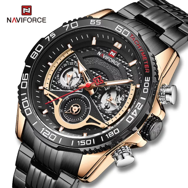 NAVIFORCE NF9185 Black Stainless Steel Chronograph Watch For Men - Rose Gold & Black