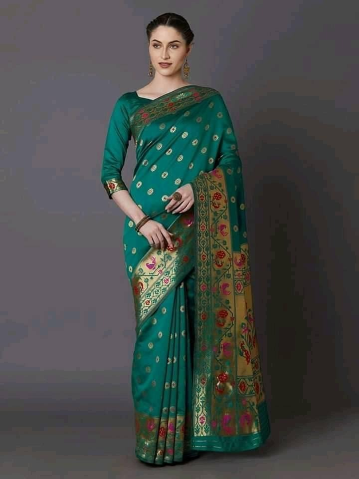 Fashionable colorful  pure silk saree for women with blouse piece
