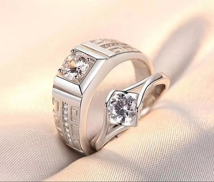 2Pcs/pair classic resizable Couple wedding engagement Rings crystal adjustable Rings Valentine Day Gift wholesale CZ rings