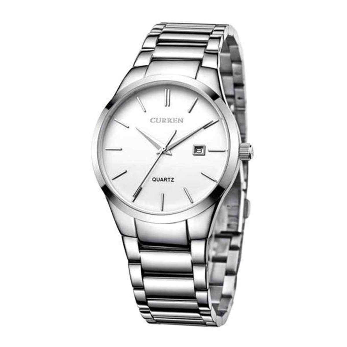 Curren 8106 Silver Stainless Steel Wrist Watch for Men - White & Silver