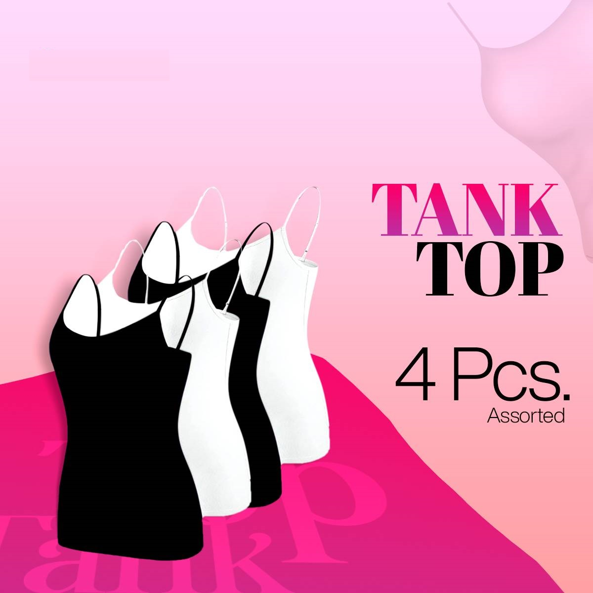 4 Pcs Assorted Women Basic Tank Tops Soft Comfortable Breathable