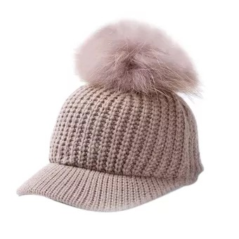 Winter Pompom Hat for Women Autumn Cotton Knitted Baseball Cap with Pom Pom Caps Ladies