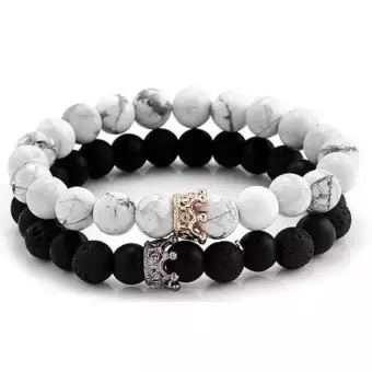 King and Queen Lava Stone Couple Bracelet