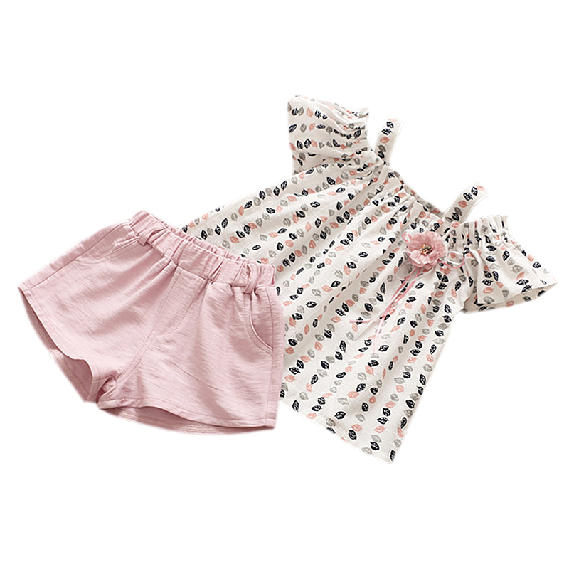 Summer Girls Clothes Sets Fashion Girls Leaves Floral Harness Strapless Shirt Top+Shorts Outfits Suits Kids Clothing 2Pcs
