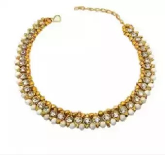 Stone Setting with White Bead Golden Metal-Anklet (Payel) for Women (Pack of 1)