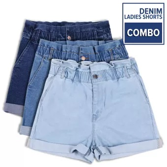Blue Denim Spandex Sexy Shorts Combo for Women