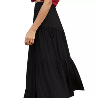 Ladies Solid Color High Waist Casual Skirt
