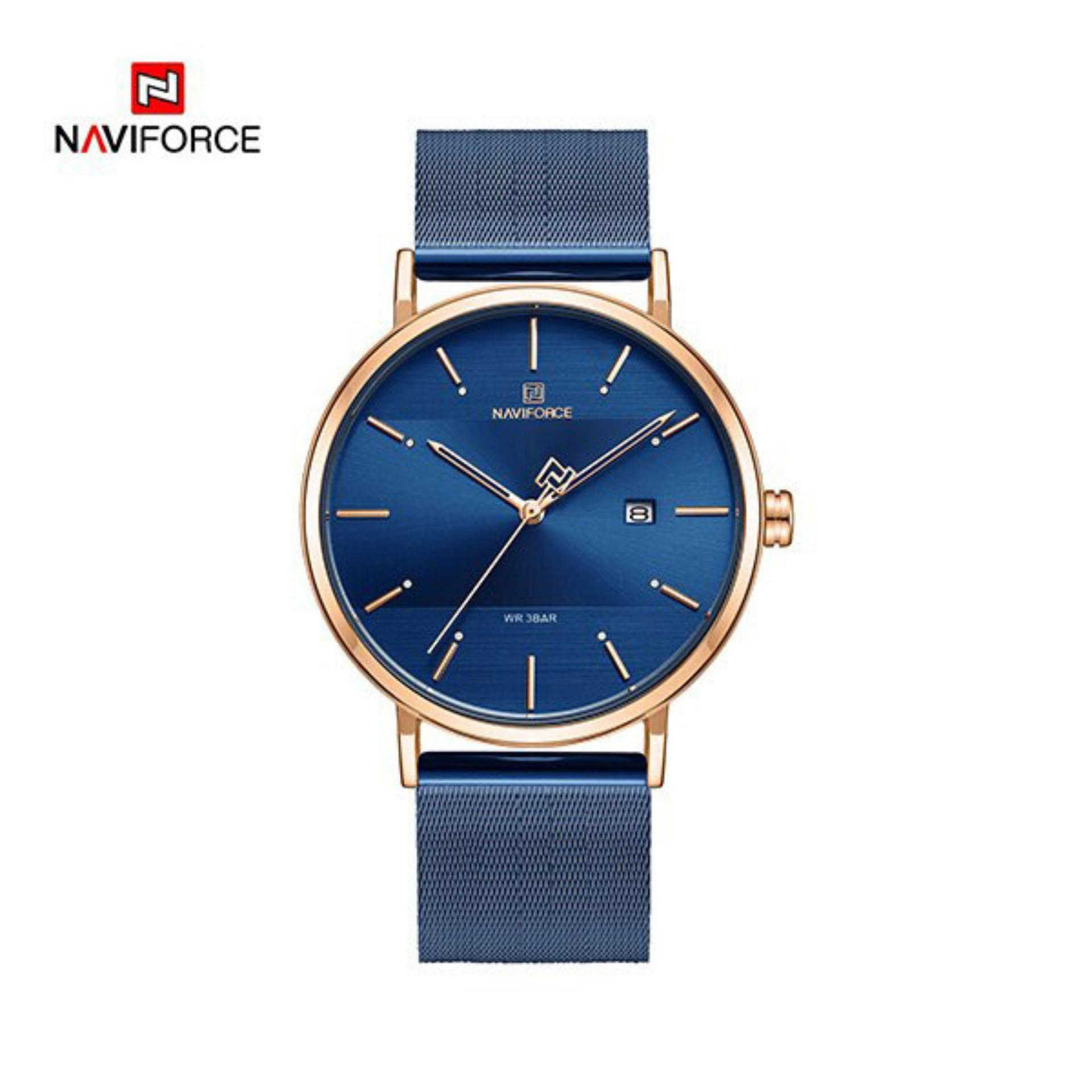 NAVIFORCE NF3008L Royal Blue Mesh Stainless Steel Analog Watch For Women - RoseGold & Royal Blue
