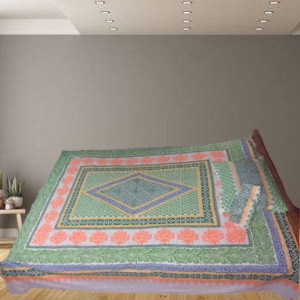 Block printed Bedsheet with 2pc Pillow Covers