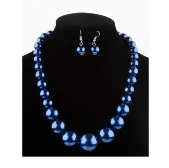 Big Size Nigerian Beads Jewelry Set Simulated-pearl Necklace Earring Set