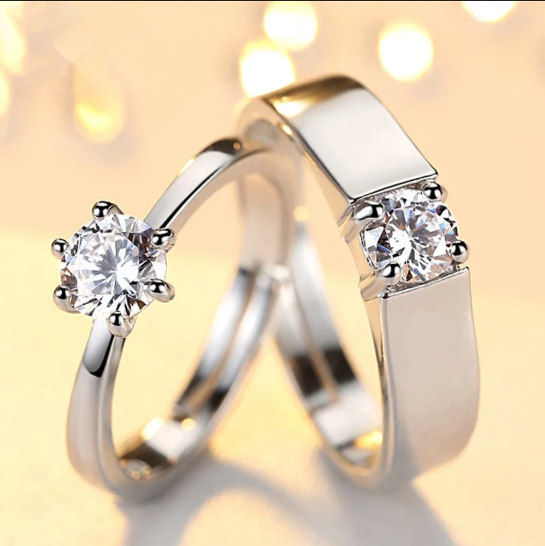 Bevier Classic Crystal CZ Stone Wedding Engagement Rings for Couples Rhodium Plated Adjustable Rings for Women Jewelry Rings