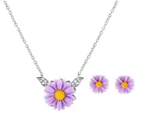 WISH New Hot Fashion Simple Chrysanthemum Suit Necklace Earring Flower Pendant