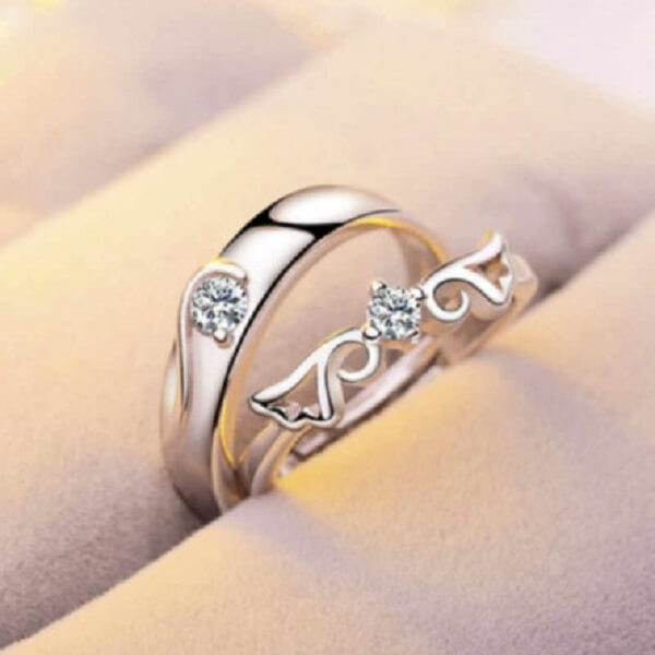 Exclusive Silver Plated China couple Ring(2pcs)