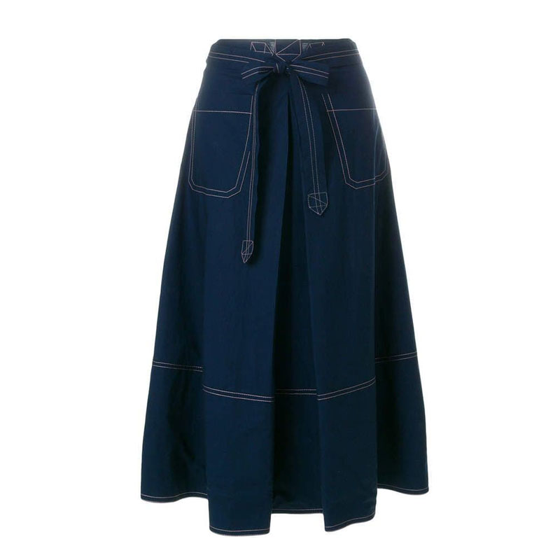 Imported blue color denim skirt with stich work