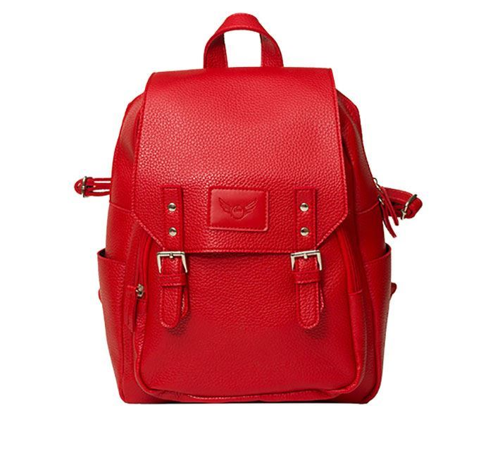 Leather Backpack for Ladies Red Color
