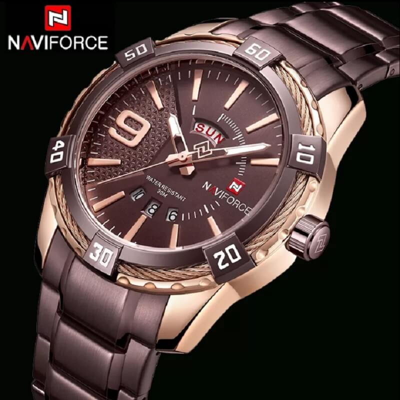 NAVIFORCE NF9117 Day Date Function Luxury Stainless Steel Watch