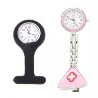 Solid 2 Pcs Nurse Fob Tunic Pocket Watch with Brooch Fob Watch-Pink & Black