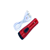 Mini Rechargeable LED Torch Light (SDGD-8670B)-Maroon With Money Check