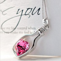 popular necklaces for ladies heart shape crystal necklace love drifting bottles of love adjustable pendant necklaces