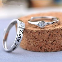 Sterling Silver Cubic Zirconia Forever Love you Adjustable Couple Ring