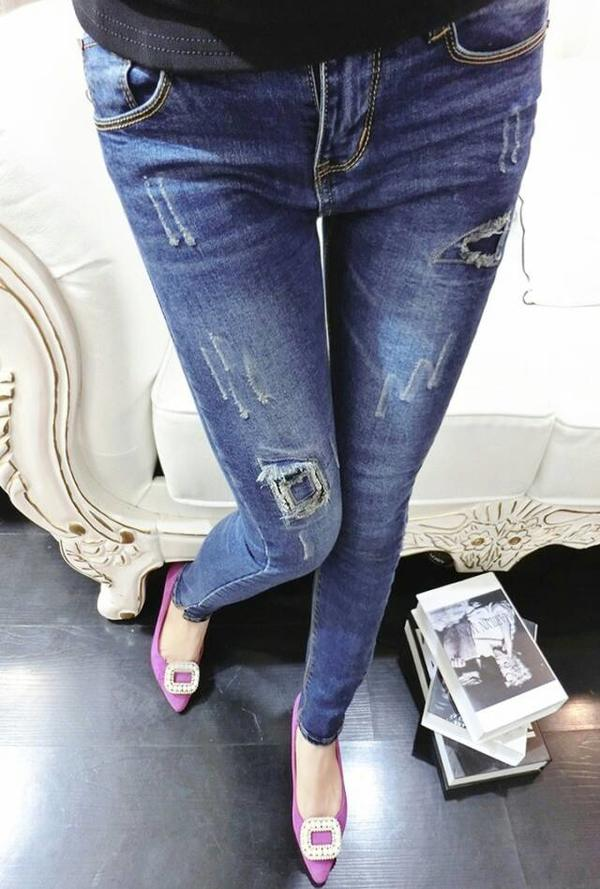 Ripped Hole Design Girl's Skinny Jeans